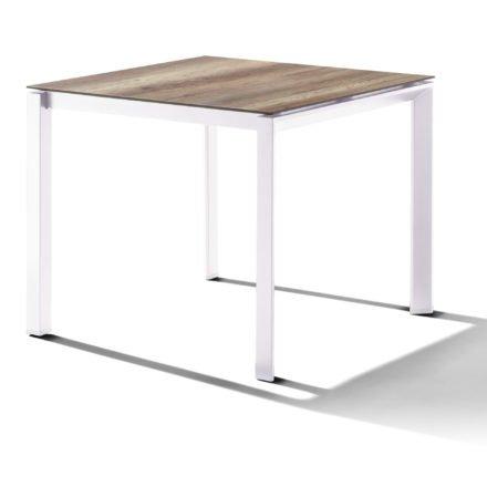 Sieger Tischsystem, Gestell Aluminium weiß, Tischplatte HPL (Polytec) Eiche hell, 90x90 cm