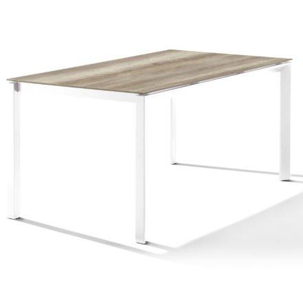 Sieger Tischsystem, Gestell Aluminium weiß, Tischplatte HPL (Polytec) Eiche hell, 160x90 cm