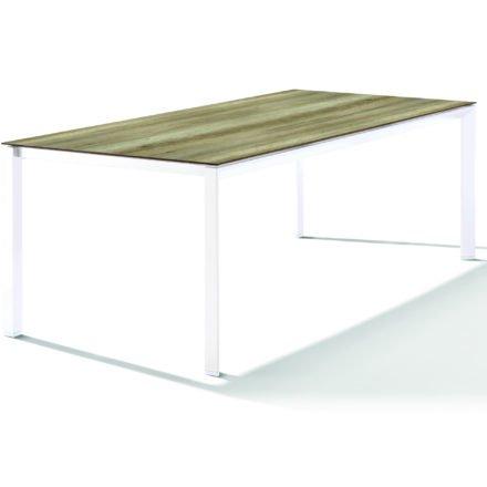 Sieger Tischsystem, Gestell Aluminium weiß, Tischplatte HPL (Polytec) Eiche hell, 220x100 cm