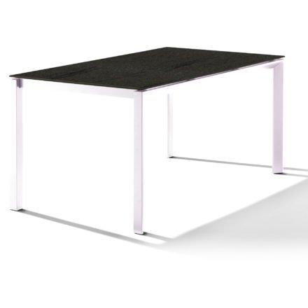Sieger Tischsystem, Gestell Aluminium weiß, Tischplatte HPL (Polytec) Granit, 160x90 cm