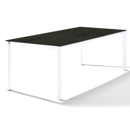 Sieger Tischsystem, Gestell Aluminium weiß, Tischplatte HPL (Polytec) Granit, 220x100 cm