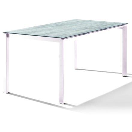 Sieger Tischsystem, Gestell Aluminium weiß, Tischplatte HPL (Polytec) Moon, 160x90 cm