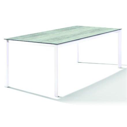 Sieger Tischsystem, Gestell Aluminium weiß, Tischplatte HPL (Polytec) Moon, 220x100 cm