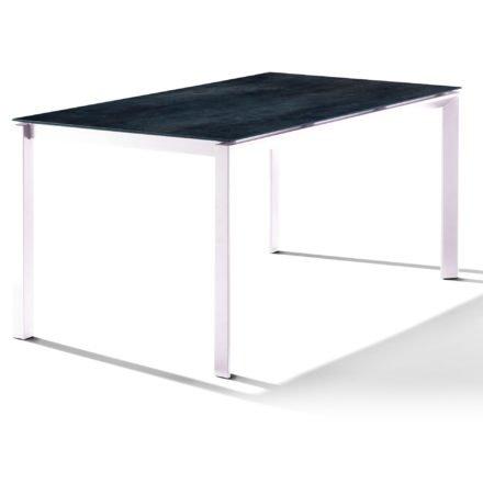 Sieger Tischsystem, Gestell Aluminium weiß, Tischplatte HPL (Polytec) Zement anthrazit, 160x90 cm