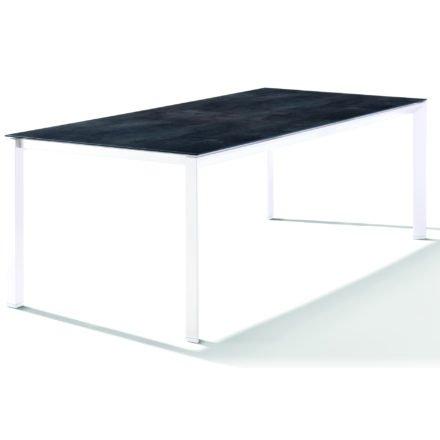 Sieger Tischsystem, Gestell Aluminium weiß, Tischplatte HPL (Polytec) Zement anthrazit, 220x100 cm