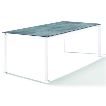 Sieger Tischsystem, Gestell Aluminium weiß, Tischplatte HPL (Polytec) Zement graphit, 220x100 cm
