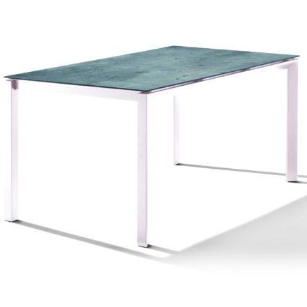 Sieger Tischsystem, Gestell Aluminium weiß, Tischplatte HPL (Polytec) Zement graphit, 160x90 cm
