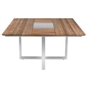"Zebra ""Quadux"" Gartentisch, Gestell Edelstahl, Tischplatte Teakholz recycelt/Old Teak"