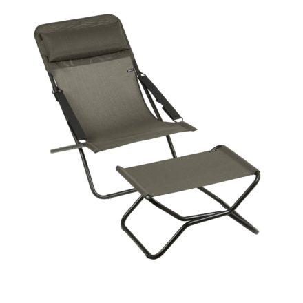 """Liegestuhl """"Transabed"""" und Fußauflage """"Next"""" von Lafuma in der Farbe Wood8212"""