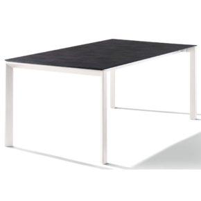 Sieger Ausziehtisch Aluminium, Gestell weiß, Tischplatte HPL Zement anthrazit