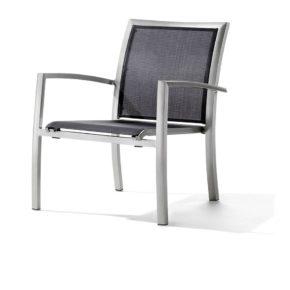 "Loungesessel ""Bastia"" von Sieger, Aluminiumgestell graphit , Textilgewebe grau"