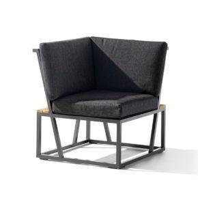 """Eckteil """"Havanna"""" von Sieger, Gestell Aluminium eisengrau, Sitzfläche Textilgewebe grau, Kissen 100% Olefin, Teakholz-Applikation"""