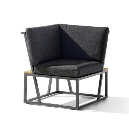 "Eckteil ""Havanna"" von Sieger, Gestell Aluminium eisengrau, Sitzfläche Textilgewebe grau, Kissen 100% Polypropylen, Teakholz-Applikation"