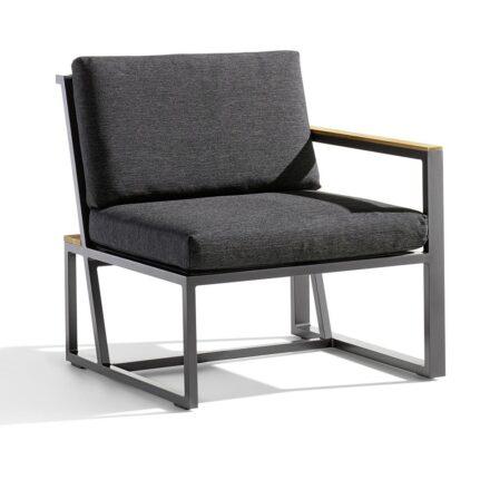 """Seitenteil mit Armlehne rechts """"Havanna"""" von Sieger, Gestell Aluminium eisengrau, Sitzfläche Textilgewebe grau, Kissen 100% Polypropylen, Teakholz-Applikation"""