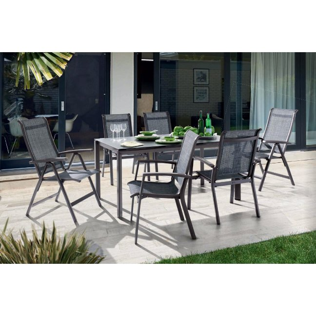 sieger gartenm bel set mit stuhl calvi und tisch aluminium keramik. Black Bedroom Furniture Sets. Home Design Ideas