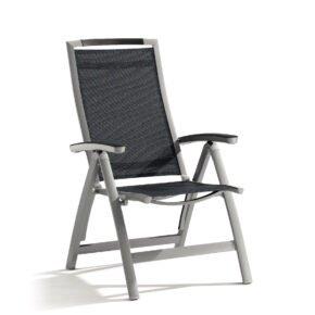 """Klappsessel """"Trento"""" von Sieger, Gestell Aluminium graphit, Textilgewebe grau"""