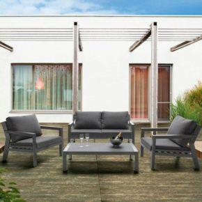"""Sieger """"Brisbane"""" Lounge-Set, Gestell Aluminium eisengrau, Sitz- und Rückenkissen Sunbrella®-Stoffbezug grau"""
