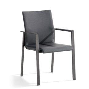 """Stapelsessel """"Lagos"""" von Sieger, Gestell eisengrau, Sitzfläche grau"""