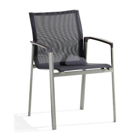 "Stapelsessel ""Bozen"" von Sieger, Gestell Aluminium graphit, Textilgewebe silbergrau"
