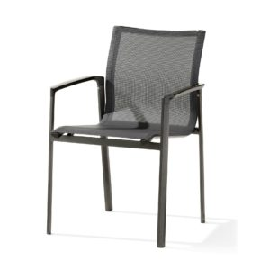 "Stapelsessel ""Bozen"" von Sieger, Gestell Aluminium eisengrau, Textilgewebe silbergrau"