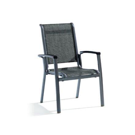 "Stapelsessel ""Calvi"" von Sieger, Gestell Aluminium eisengrau, Textilgewebe silbergrau"