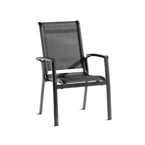"Sieger Stapelsessel ""Calvi"", Gestell Aluminium eisengrau, Sitz- und Rückenfläche aus Textilgewebe grau"