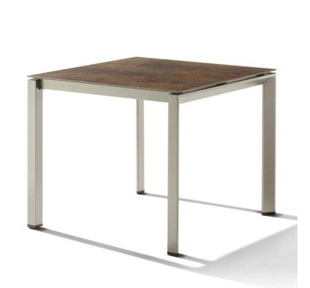 Sieger Tischsystem, Gestell Aluminium champagner, Tischplatte HPL (Polytec) Bronze, 90x90 cm