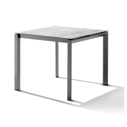 Sieger Tischsystem, Gestell Aluminium eisengrau, Tischplatte HPL (Polytec) Moon, 90x90 cm