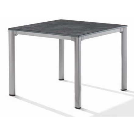 Sieger Tischsystem, Gestell Aluminium graphit. Tischplatte Puroplan Beton dunkel
