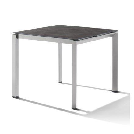 Sieger Tischsystem, Gestell Aluminium graphit, Tischplatte HPL (Polytec) Beton dunkel, 90x90 cm