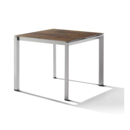 Sieger Tischsystem, Gestell Aluminium graphit, Tischplatte HPL (Polytec) Bronze, 90x90 cm