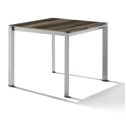Sieger Tischsystem, Gestell Aluminium graphit, Tischplatte HPL (Polytec) Eiche dunkel, 90x90 cm
