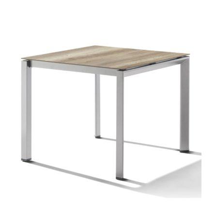 Sieger Tischsystem, Gestell Aluminium graphit, Tischplatte HPL (Polytec) Eiche hell, 90x90 cm