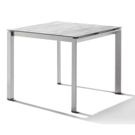 Sieger Tischsystem, Gestell Aluminium graphit, Tischplatte HPL (Polytec) Moon, 90x90 cm