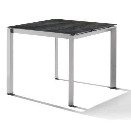 Sieger Tischsystem, Gestell Aluminium graphit, Tischplatte HPL (Polytec) Zement anthrazit, 90x90 cm