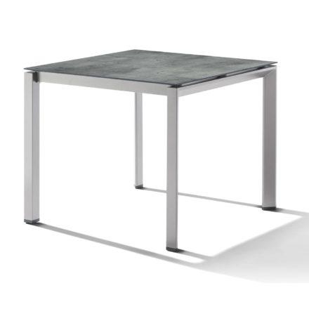 Sieger Tischsystem, Gestell Aluminium graphit, Tischplatte HPL (Polytec) Zement graphit, 90x90 cm