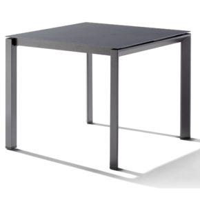 Sieger Tischsystem, Gestell Aluminium eisengrau, Tischplatte Keramik Zement anthrazit, 90x90 cm