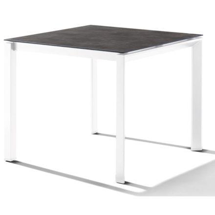 Sieger Tischsystem, Gestell Aluminium weiß, Tischplatte HPL (Polytec) Beton dunkel, 90x90 cm