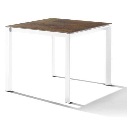 Sieger Tischsystem, Gestell Aluminium weiß, Tischplatte HPL (Polytec) Bronze, 90x90 cm