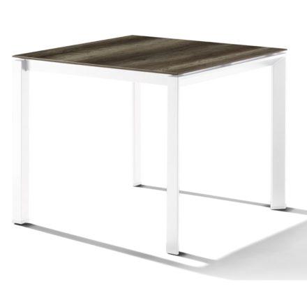 Sieger Tischsystem, Gestell Aluminium weiß, Tischplatte HPL (Polytec) Eiche dunkel, 90x90 cm