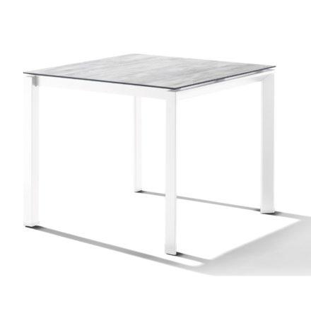 Sieger Tischsystem, Gestell Aluminium weiß, Tischplatte HPL (Polytec) Moon, 90x90 cm
