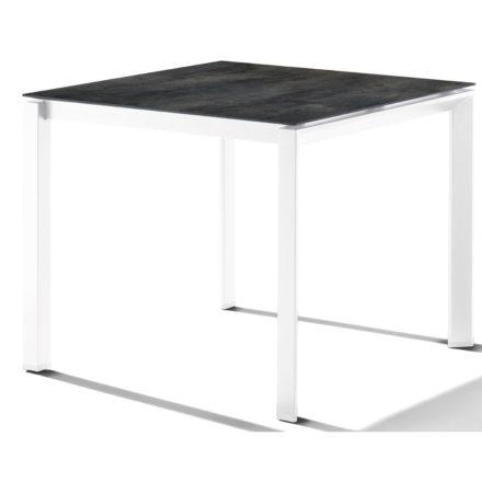 Sieger Tischsystem, Gestell Aluminium weiß, Tischplatte HPL (Polytec) Zement anthrazit, 90x90 cm