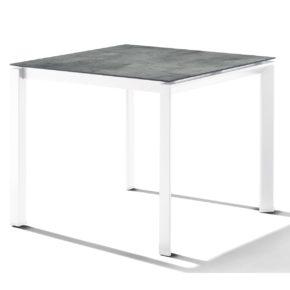 Sieger Tischsystem, Gestell Aluminium weiß, Tischplatte HPL (Polytec) Zement graphit, 90x90 cm