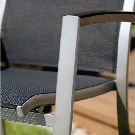 "Stapelsessel ""Trento"" von Sieger, Gestell Aluminium graphit, Textilgewebe grau"