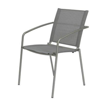 "Stern Stapelsessel ""Mara"", Gestell Edelstahl, Sitz- und Rückenfläche Textilgewebe silber"