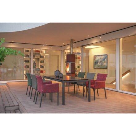 """Stern Gartenmöbel-Set mit Diningsessel """"Artus"""" und Gartentisch 180x100cm, Alu anthrazit, Tischplatte HPL Dark Marble"""