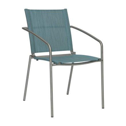 """Stern Stapelsessel """"Mara"""", Gestell Edelstahl, Sitz- und Rückenfläche Textilgewebe azur"""