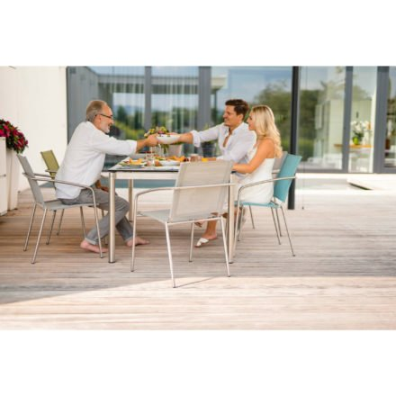 "Stern Stapelsessel ""Mara"", Gestell Edelstahl, Sitzfläche Textilgewebe apple, silber und azur, Tischgestell Edelstahl Rundrohr, Platte HPL uni grau, 200x100 cm"