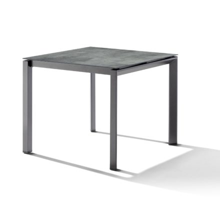 Sieger Tischsystem, Gestell Aluminium eisengrau, Tischplatte HPL (Polytec) Zement graphit, 90x90 cm