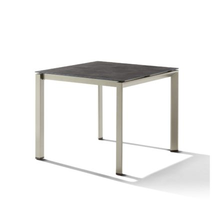 Sieger Tischsystem, Gestell Aluminium champagner, Tischplatte HPL (Polytec) Beton dunkel, 90x90 cm